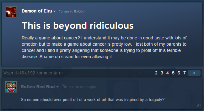 """A game about cancer is """"ridiculous."""""""